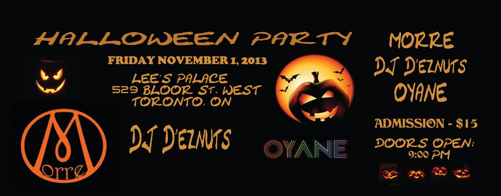 Halloween 1 November.Halloween Party W Morre Lee S Palace Toronto Nov 1